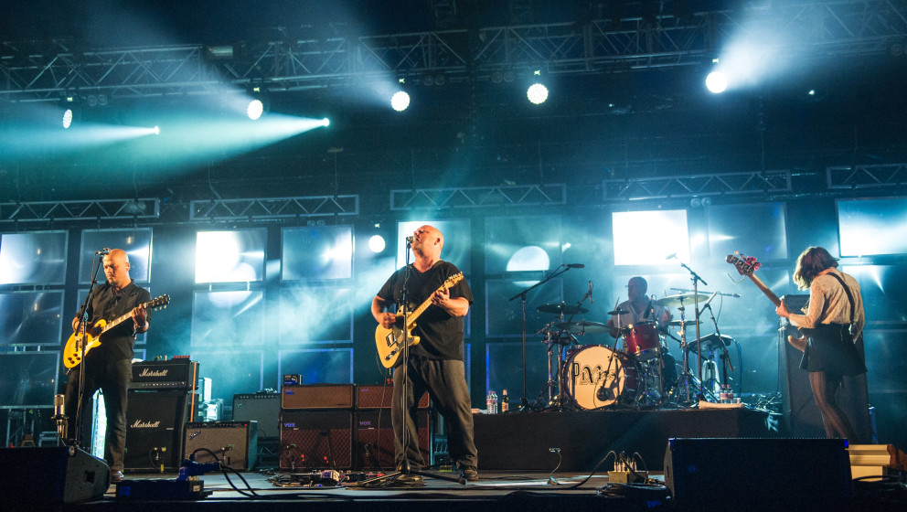 KINROSS, UNITED KINGDOM - JULY 11: Joey Santiago, Black Francis, Dave Lovering and Paz Lenchantin of Pixies perform headlinin