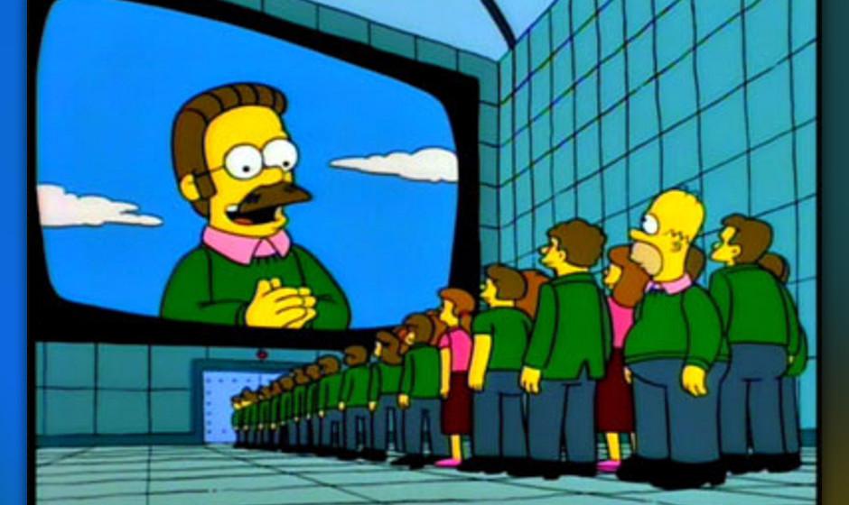 Homer springt durch die Zeit und denkt sich, noch bevor er miterleben muss, dass Ned Flanders seinen George Orwell gelesen ha