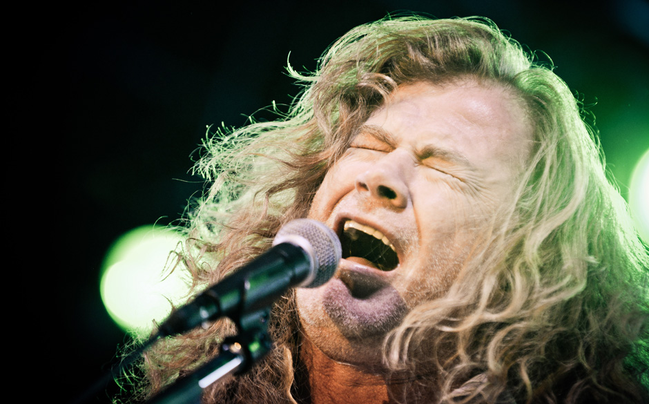 ST. PAUL, MN - NOVEMBER 24: Lead singer Dave Mustaine with Megadeth performs at the Myth Nightclub on November 24, 2013 in St