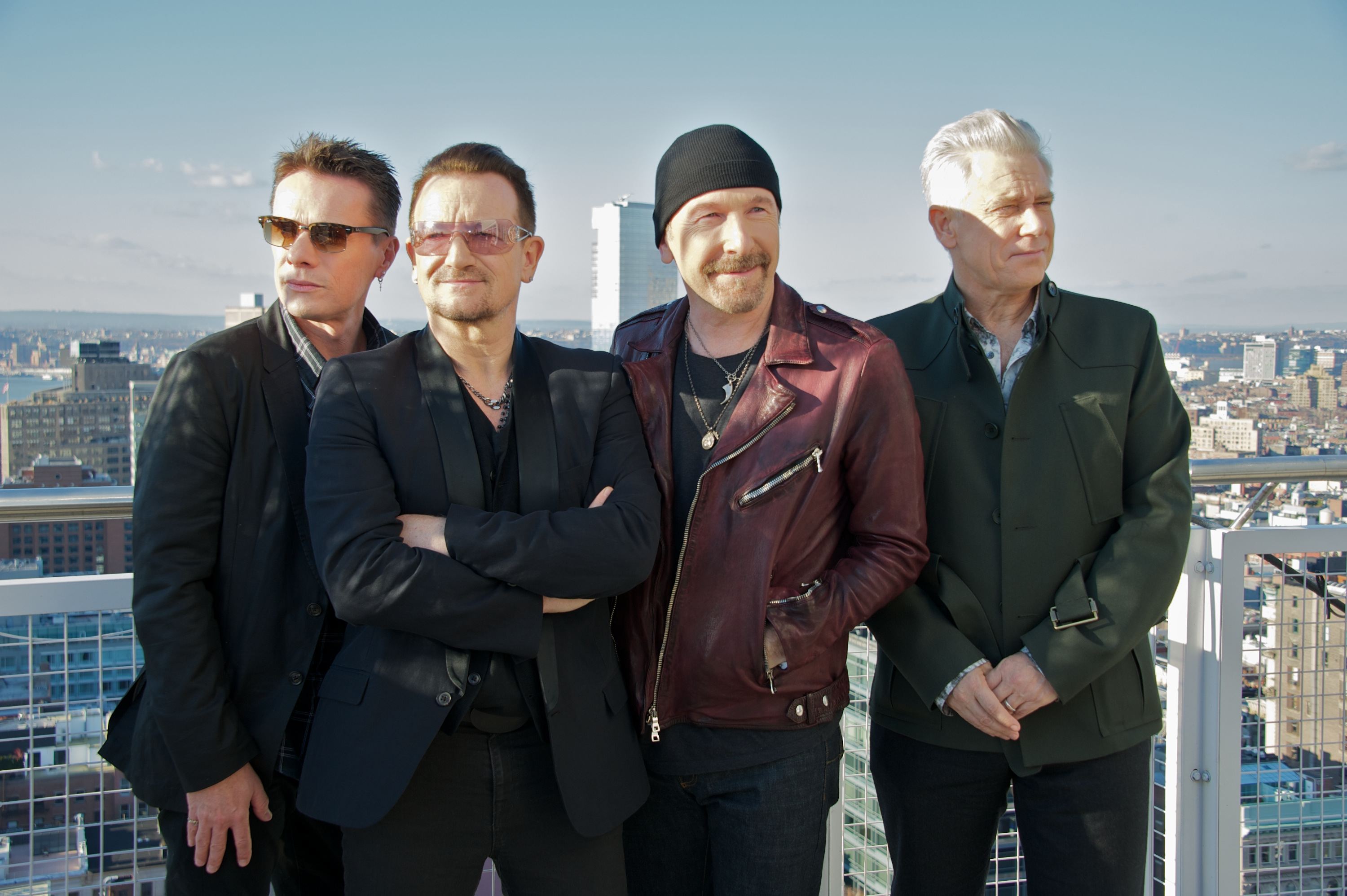 NEW YORK, NY - DECEMBER 07:  Larry Mullen, Jr., Bono, The Edge and Adam Clayton at the U2 Press Conference at the Mondrian So