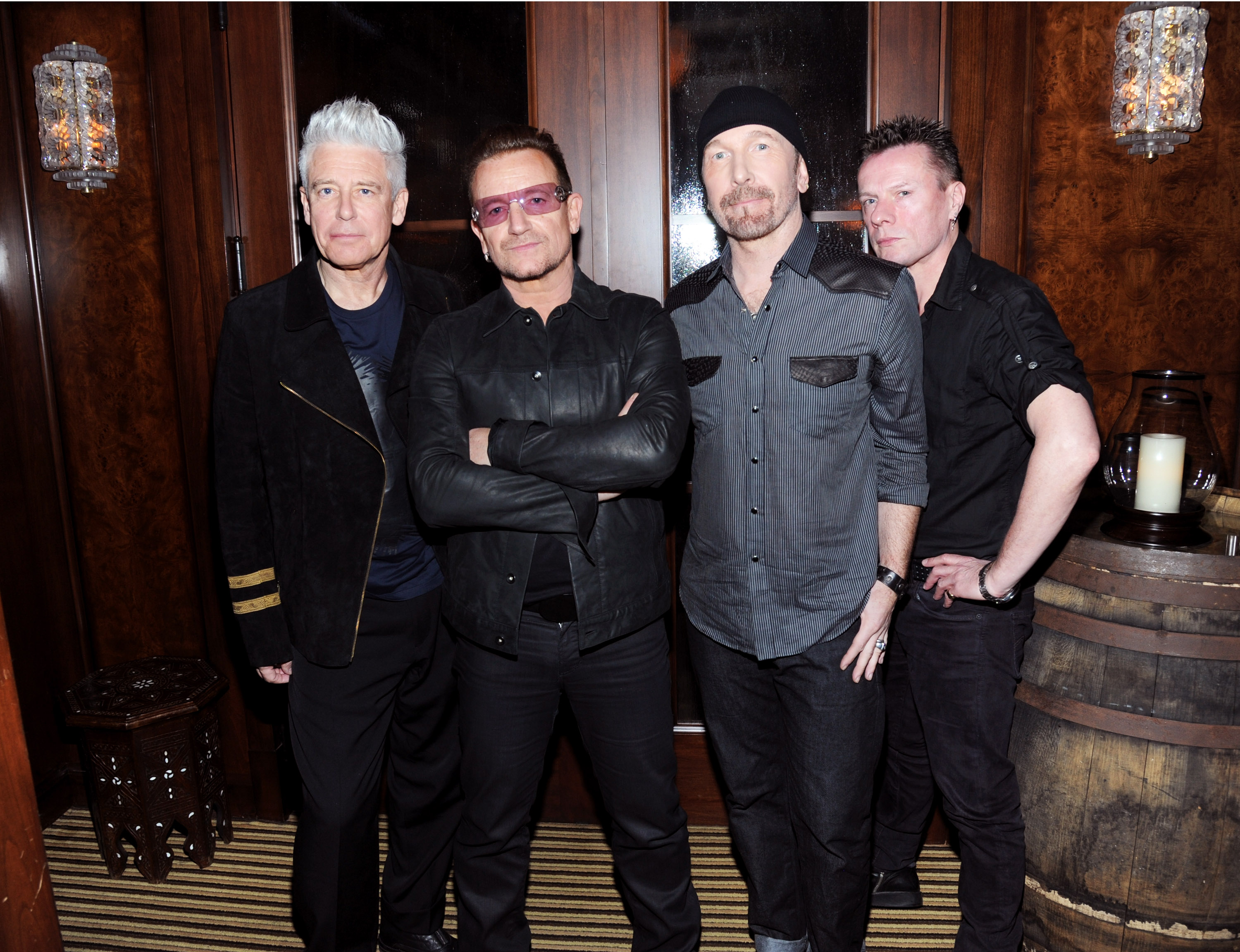 BEVERLY HILLS, CA - JANUARY 11:  (Exclusive Coverage)   Adam Clayton, Bono, The Edge and Larry Mullen Jr. of U2 attend the 3r