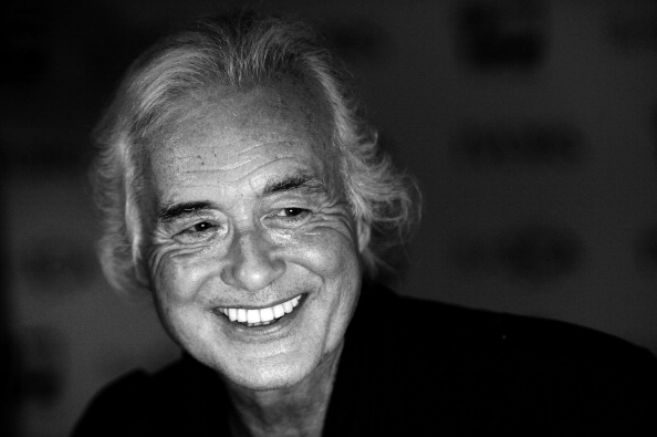 LONDON, ENGLAND - MAY 22: (EDITORS NOTE: Image has been converted to black and white.)  Jimmy Page poses in the winners room