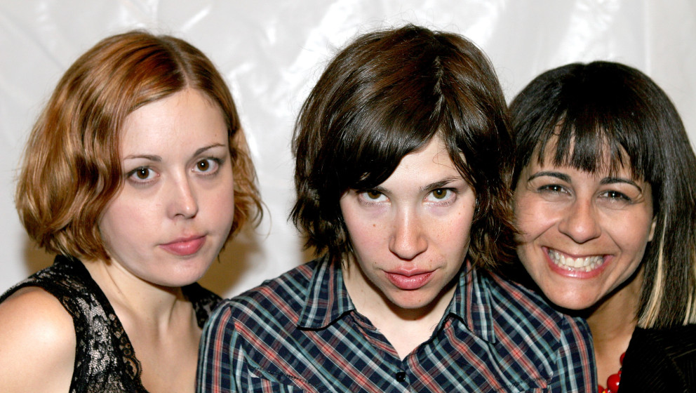 LOS FELIZ, CA - SEPTEMBER 5: (L-R) Musicians Corin Tucker, Carrie Brownstein and Janet Weiss of the band Sleater-Kinney atten