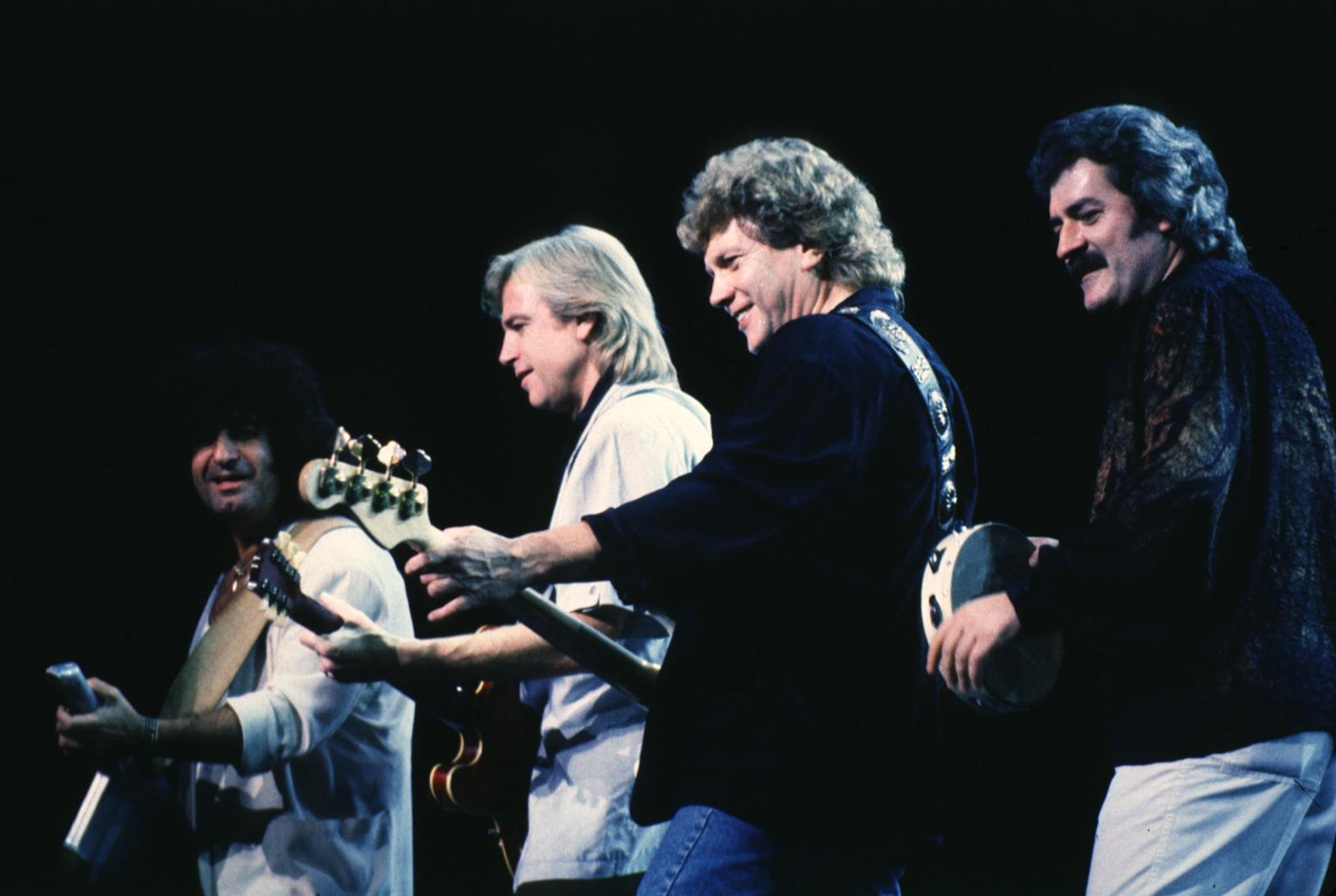 Patrick Moraz, Justin Hayward, John Lodge and Ray Thomas of The Moody Blues (Photo by Patti Ouderkirk/WireImage)