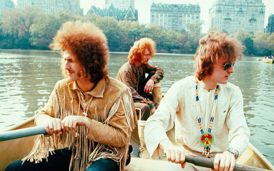 NEW YORK - NOVEMBER 1968: Rock band 'Cream' pose for a portrait in a row boat in Central Park in November 1968 in New York Ci