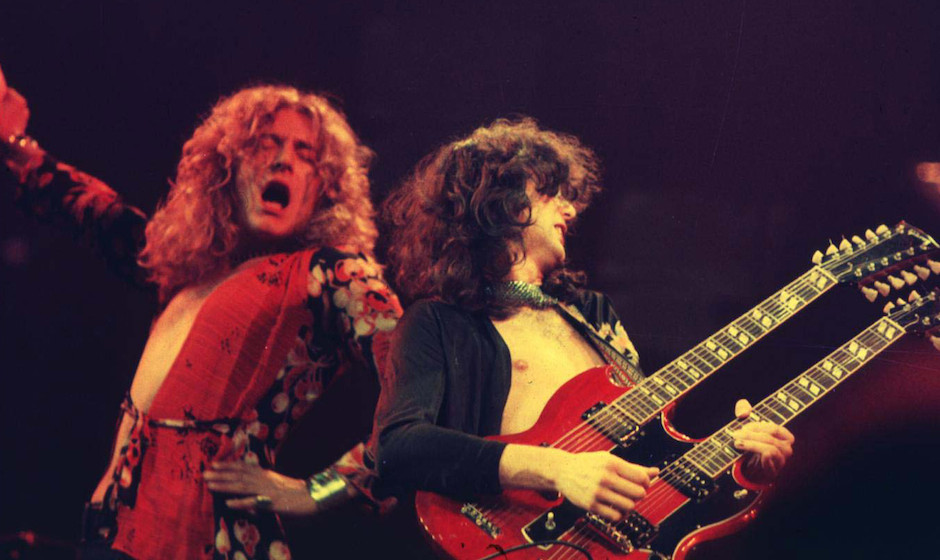 Robert Plant and Jimmy Page of Led Zeppelin at the Chicago Stadium in Chicago, Illinois (Photo by Laurance Ratner/WireImage)