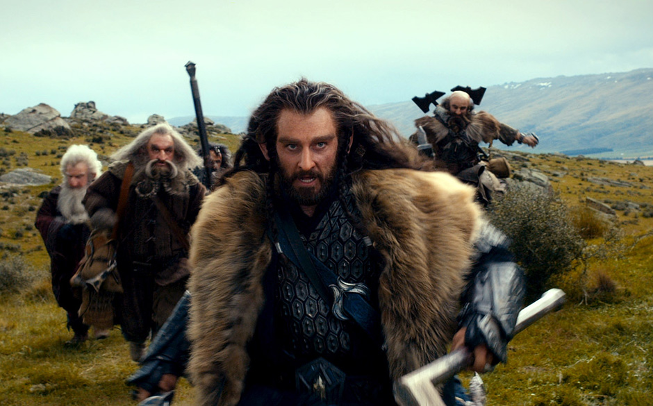 (L-r) KEN STOTT as Balin, JOHN CALLEN as Oin, WILLIAM KIRCHER as Bifur, RICHARD ARMITAGE as Thorin Oakenshield (center) and G