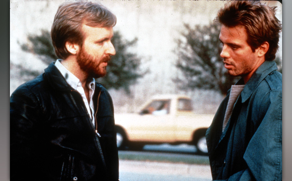 "James Cameron und Michael Biehn am Set von ""The Terminator"""