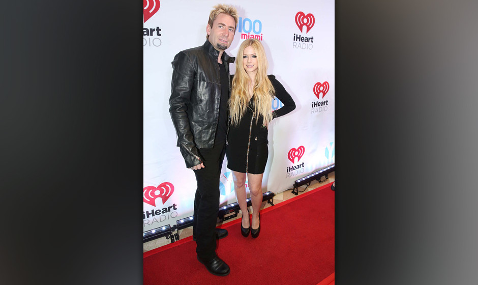 SUNRISE, FL - DECEMBER 20: Chad Kroeger and Avril Lavigne participates in Y 100 Jingle Ball at BB&T Center on December 20