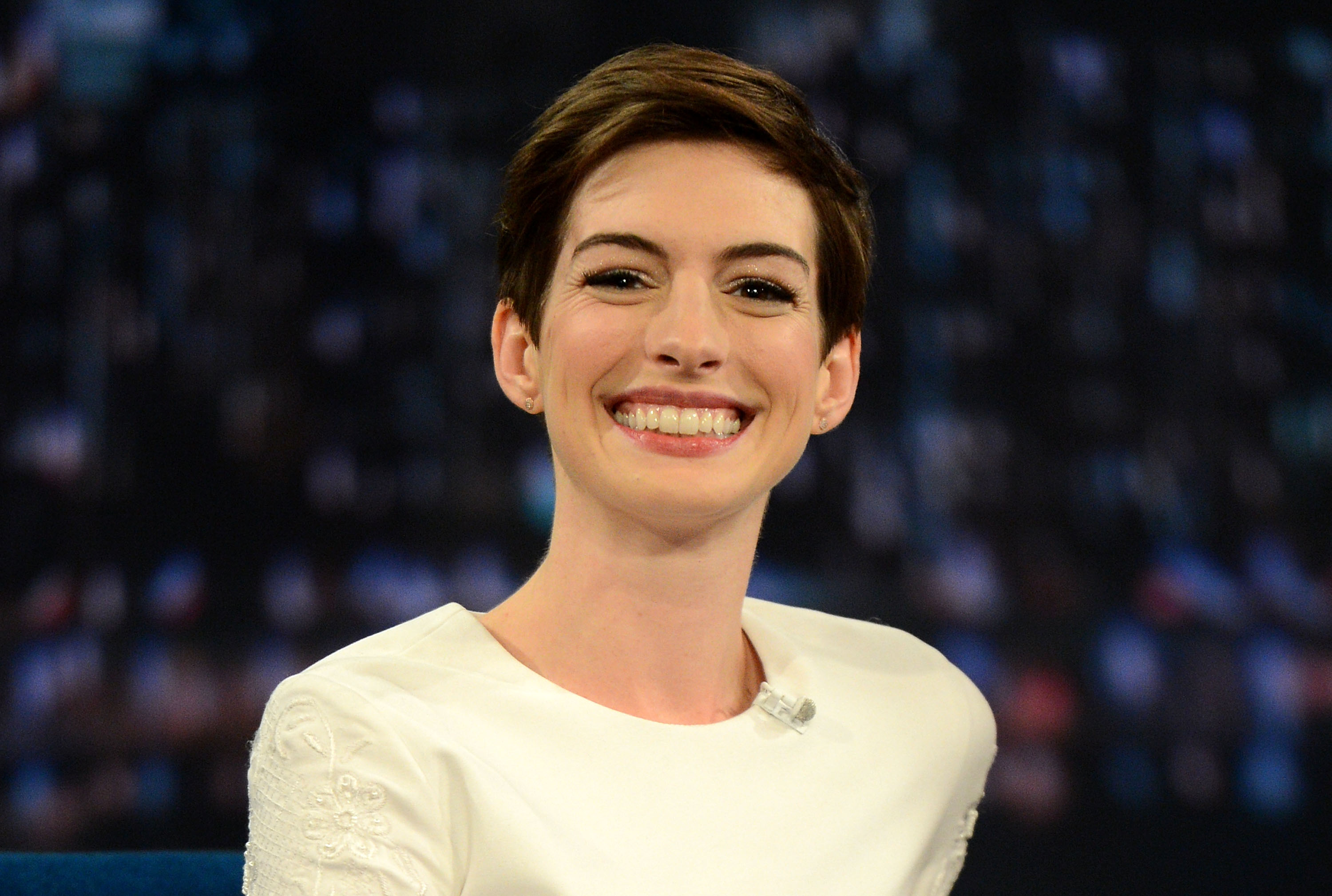 NEW YORK, NY - DECEMBER 11:  Actress Anne Hathaway visits 'Late Night With Jimmy Fallon' at Rockefeller Center on December 11
