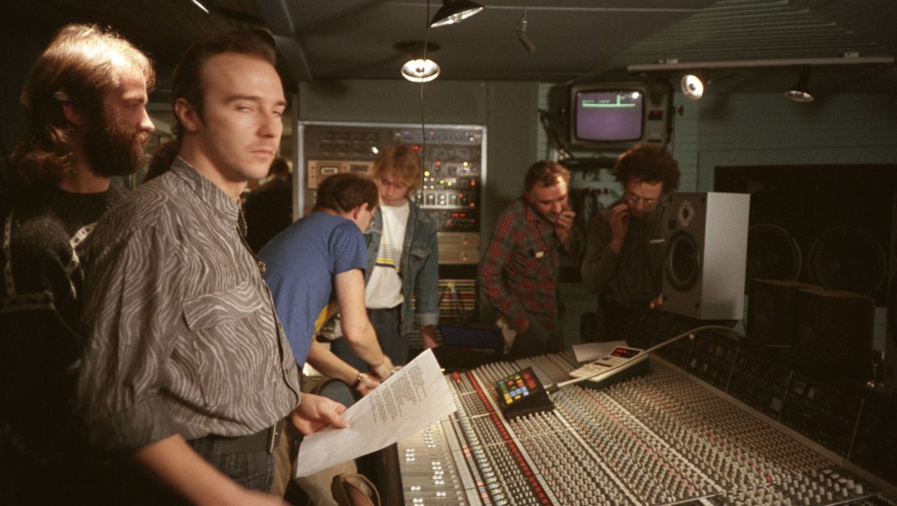UNITED KINGDOM - NOVEMBER 26:  BASING ST STUDIOS  Photo of Midge URE and BAND AID, Midge Ure in the control room  (Photo by S
