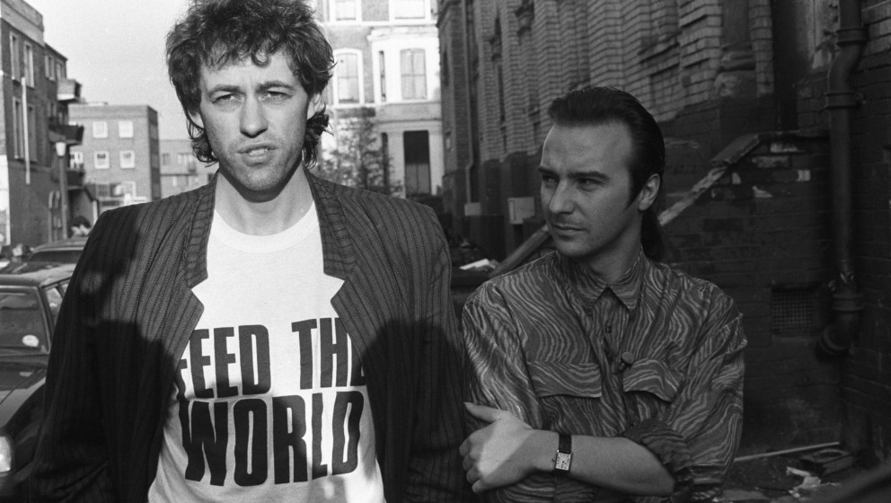 Bob Geldof and Midge Ure pictured outside SARM Studios in Notting Hill, London, during the recording of the Band Aid single '
