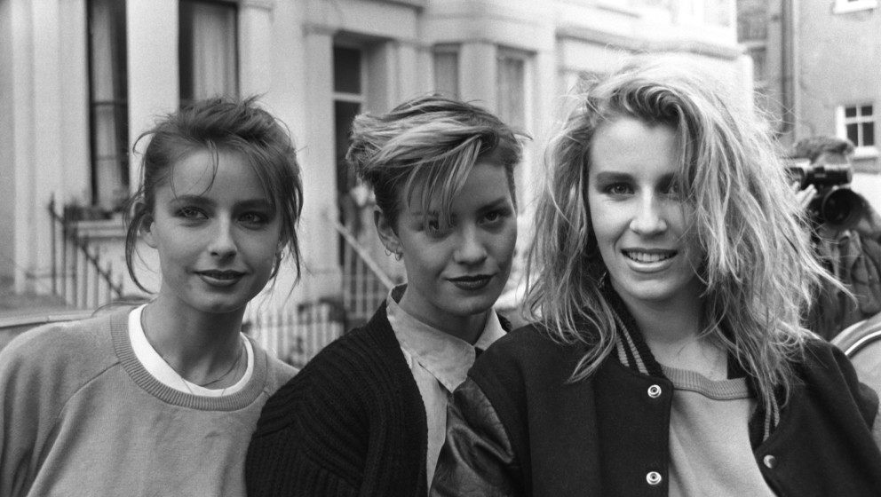 Bananarama (Keren Woodward, Siobhan Fahey and Sara Dallin) pictured outside SARM Studios in Notting Hill, London, during the