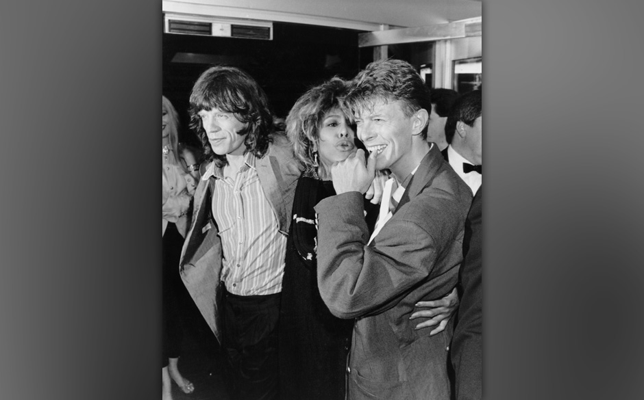 From left to right, singers Mick Jagger, Tina Turner and David Bowie at the Prince's Trust 10th Anniversary Rock Gala at Wemb