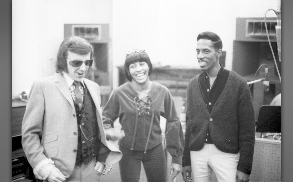 UNITED STATES - JANUARY 01:  GOLD STAR STUDIOS  Photo of Phil SPECTOR, with Ike & Tina Turner - L-R: Phil Spector, Tina T