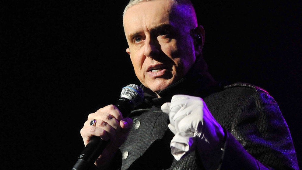 LONDON, ENGLAND - OCTOBER 28:  Singer Holly Johnson of Frankie Goes to Hollywood performs live on stage 'Unleashed From The P