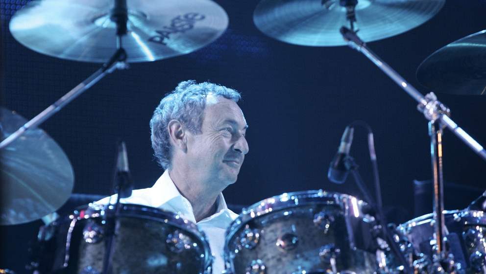 LONDON - JULY 02:  Nick Mason from the band Pink Floyd performs on stage at 'Live 8 London' in Hyde Park on July 2, 2005 in L