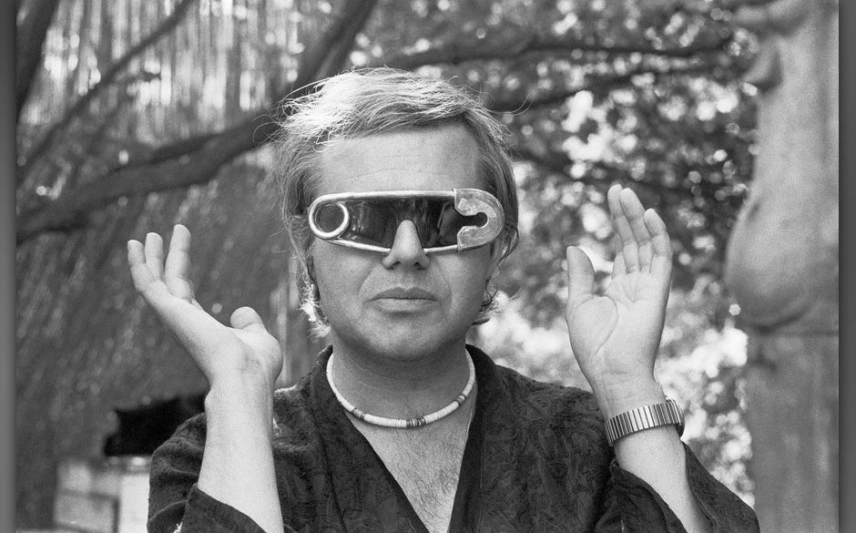 Portrait of the Swiss artist HR Giger,wearing extraodrinary, exclusively custom designed sun glasses, pictured in the garden