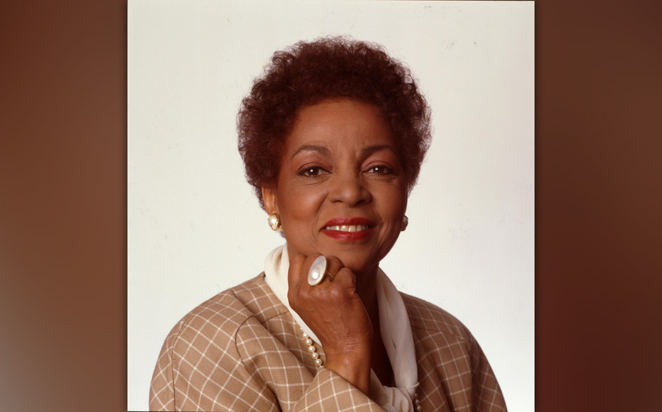 Portrait of American actor and Civil Rights activist Ruby Dee (1922 - 2014) as she poses against a white background, New York