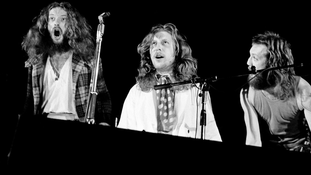Ian Anderson, John Evan and Barriemore Barlow (aka Barrie Barlow) of Jethro Tull perform on stage on January 8th 1972 in Cope
