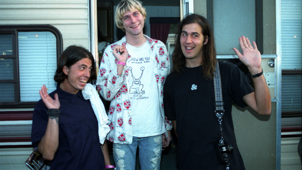Dave Grohl,Kurt Cobain and Kirst Novoselic of Nirvana (Photo by Jeff Kravitz/FilmMagic)