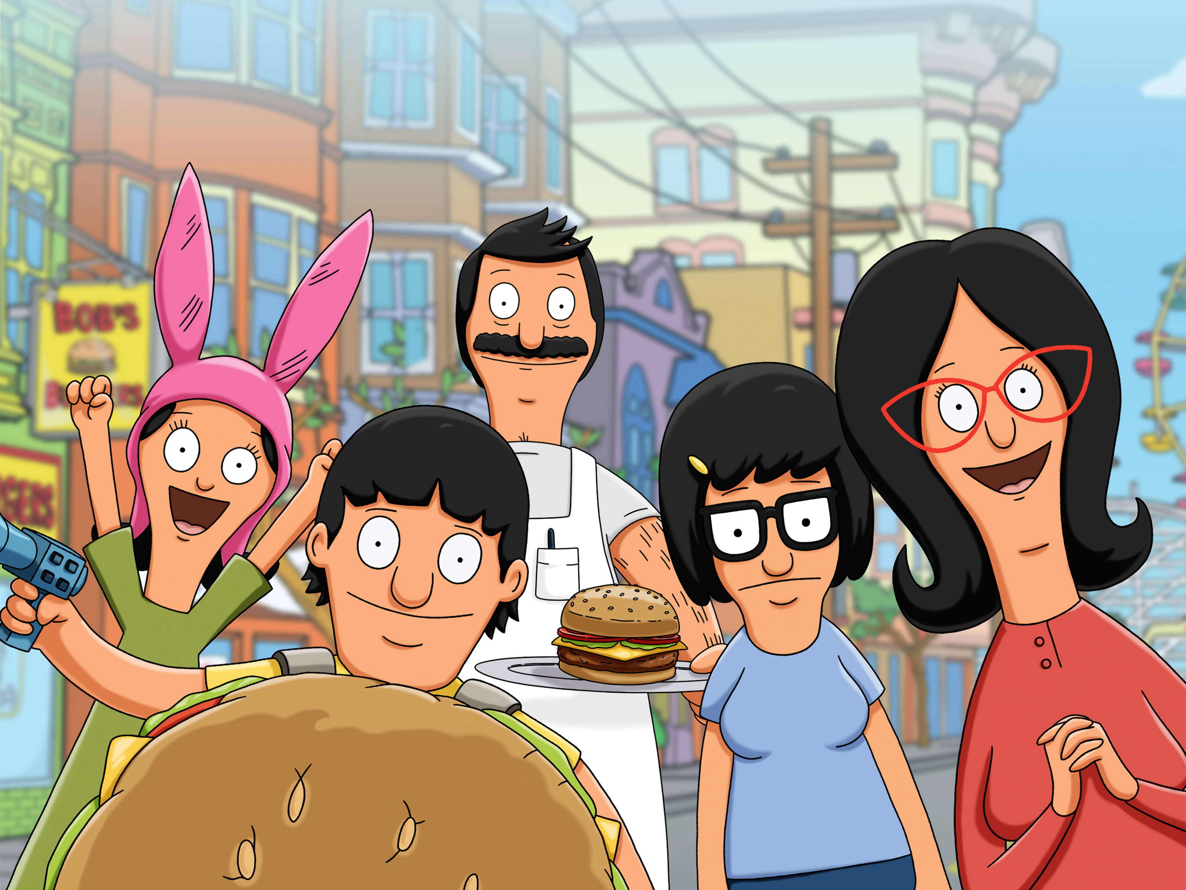 BOB'S BURGERS: The Belchers (L-R) -- youngest daughter Louise, son Gene, dad Bob, eldest daughter Tina and mom Linda -- get r