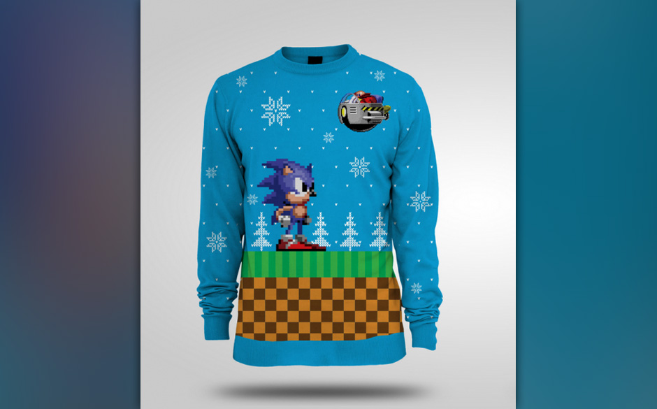 Ein Sonic-Pullover in der Winteredition. Nicht nur für Computerfreunde und 90's Kids.