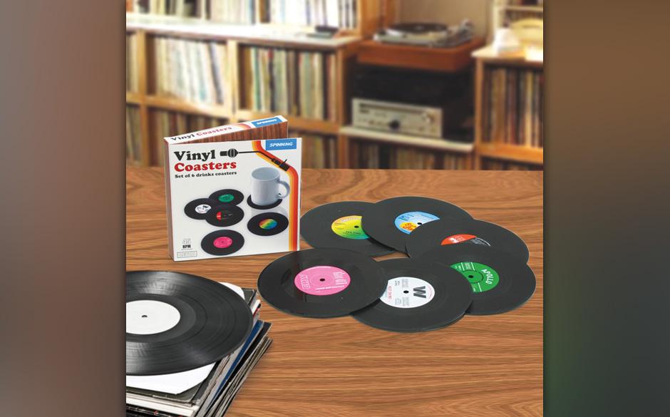 Getränke-Untersetzer für echte Vinyl-Fans. Damit man auch mal unachtsam mit den Scheibchen umgehen darf.