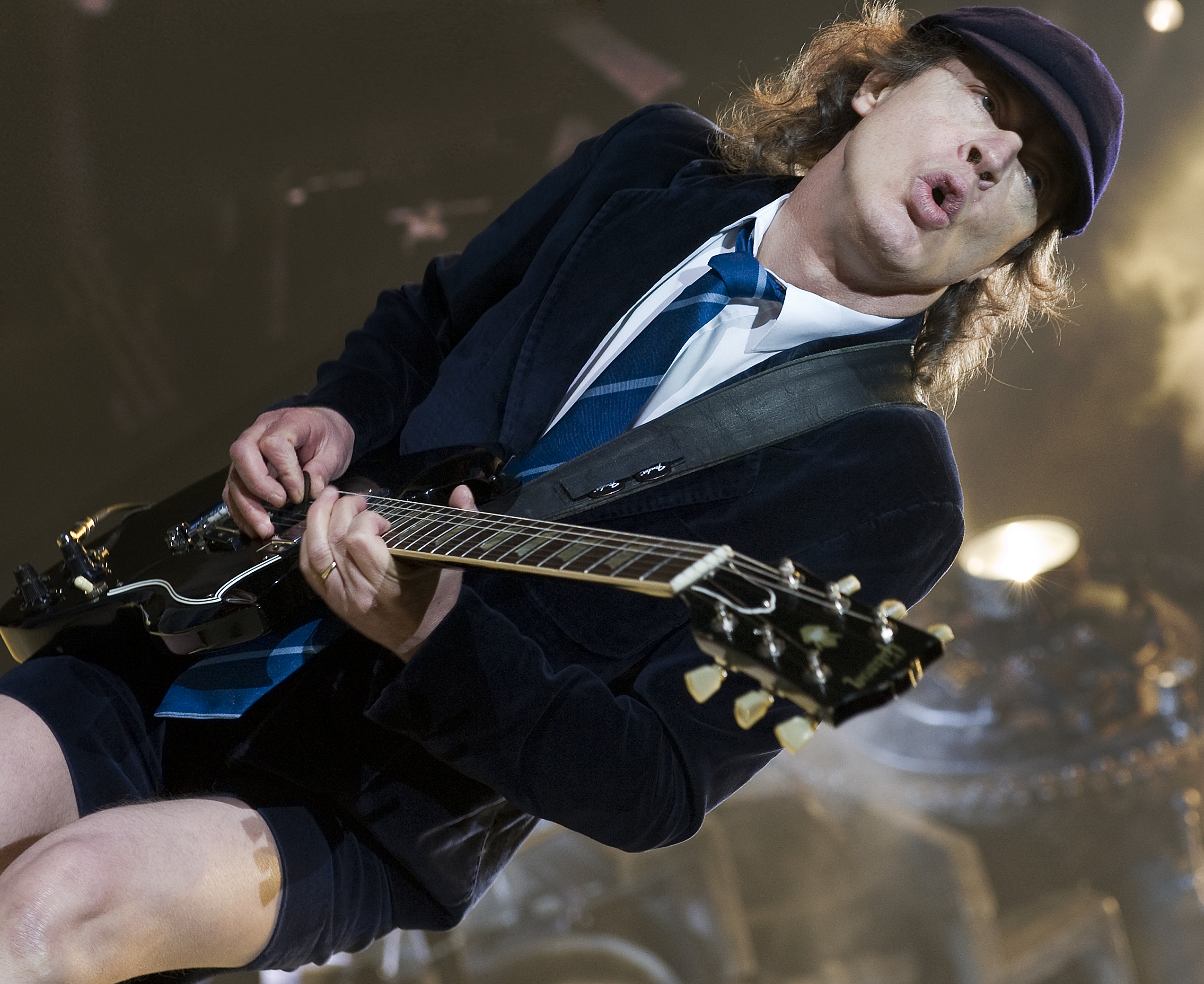 LONDON, UNITED KINGDOM - MAY 16: Angus Young of AC/DC performing live on stage at the O2 Arena, April 16, 2009. (Photo by Rob