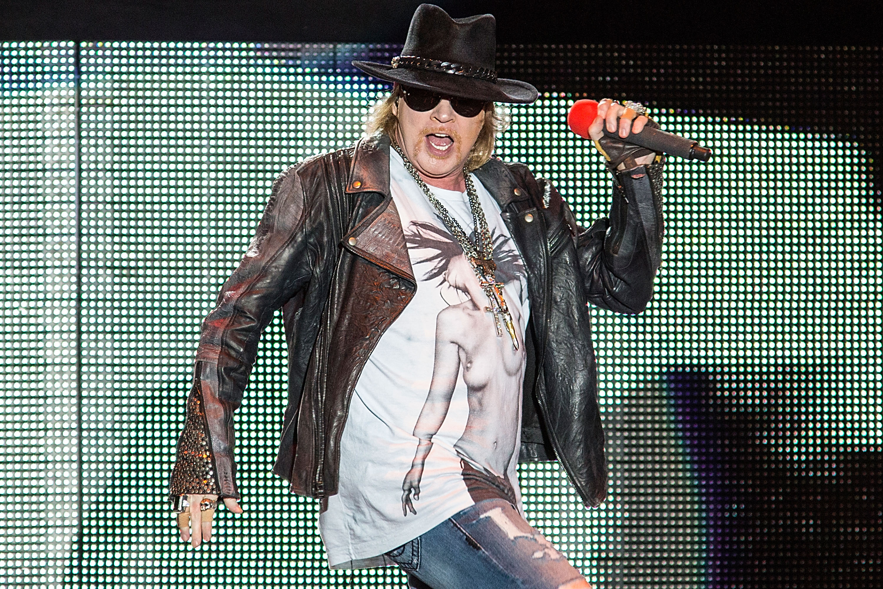 SAN ANTONIO, TX - MAY 26:  Vocalist Axl Rose of Gun N' Roses performs in concert during River City Rockfest at the AT&T C