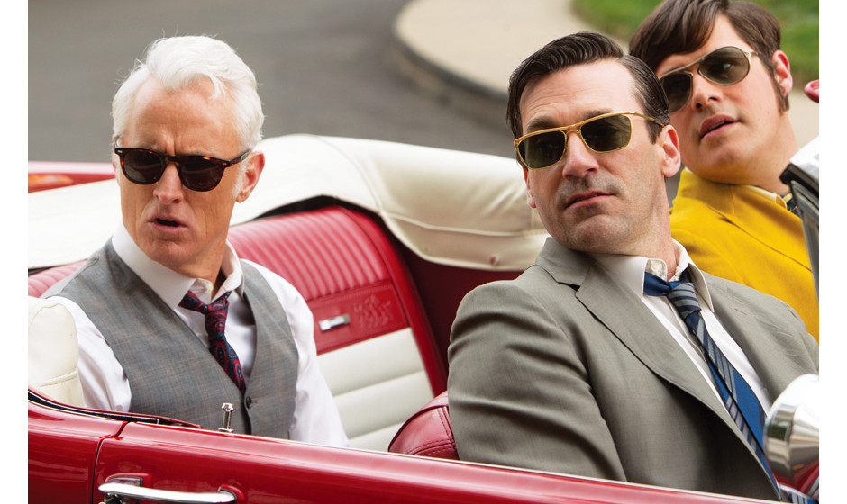 Roger Sterling (John Slattery), Don Draper (Jon Hamm) and Harry Crane (Rich Sommer) - Mad Men _ Season 6, Episode 10 _ 'A Tal