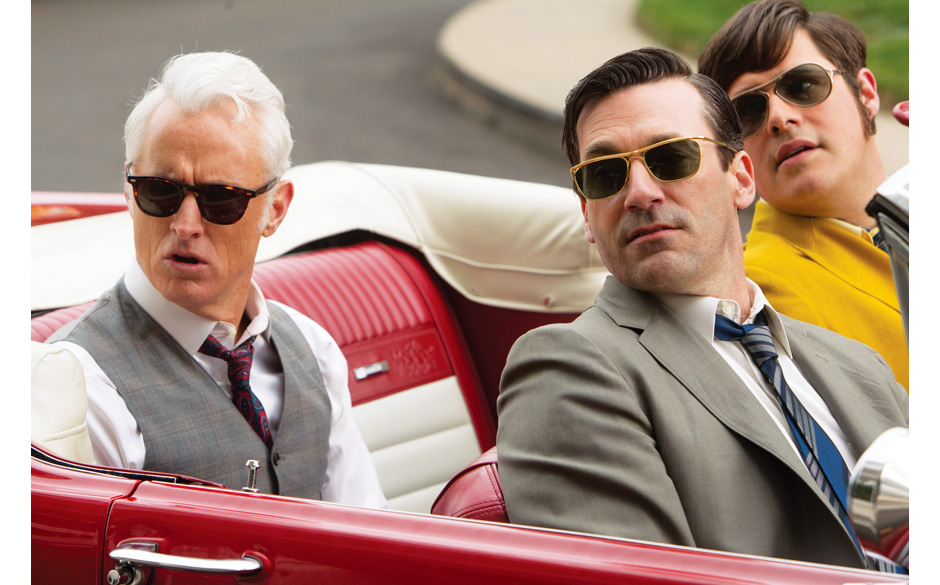 Roger Sterling (John Slattery), Don Draper (Jon Hamm) and Harry Crane (Rich Sommer) - Mad Men _ Season 6, Episode 10 _ 'A Tal