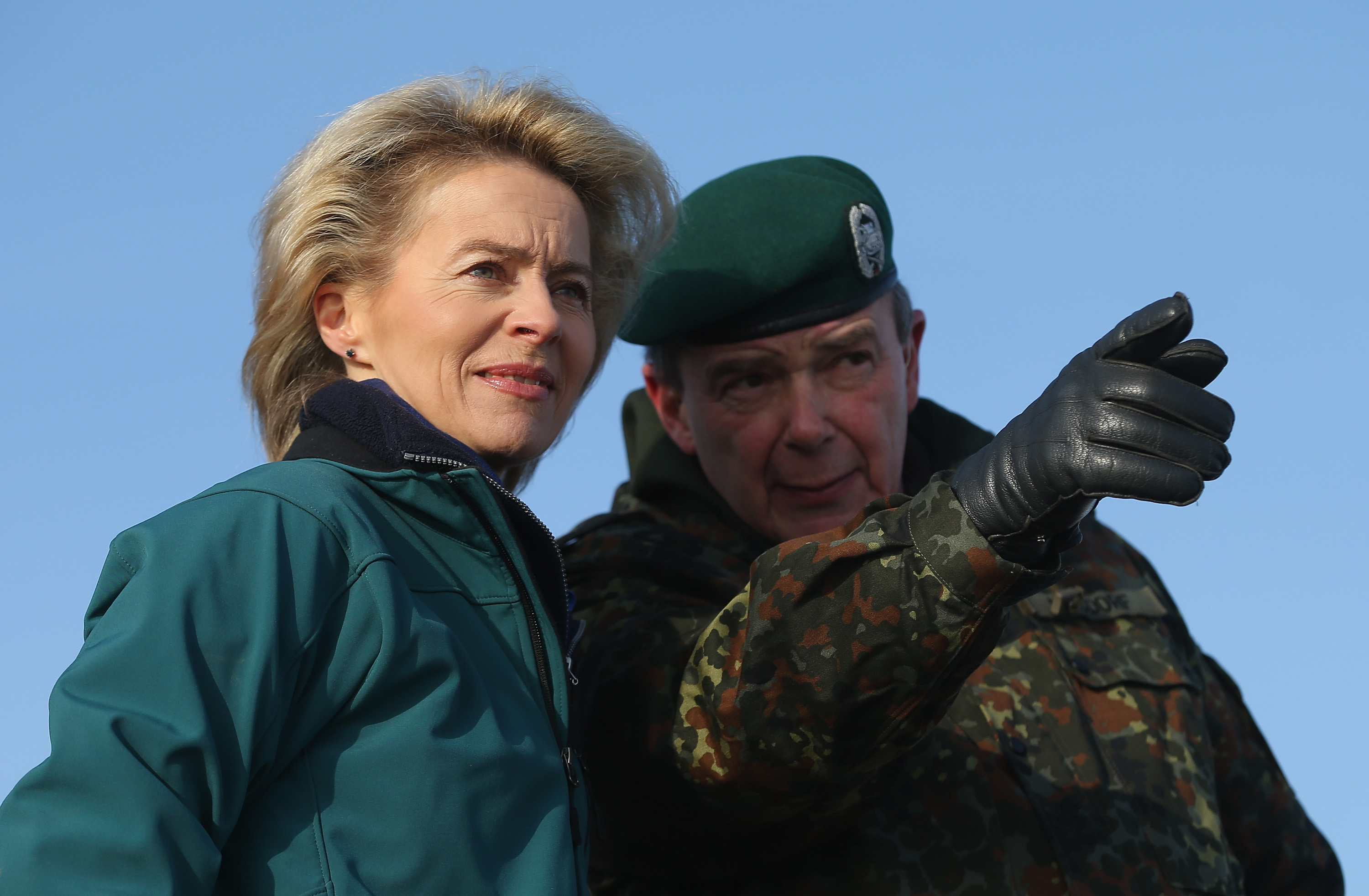 LETZLINGEN, GERMANY - JANUARY 28:  German Defense Minister Ursula von der Leyen observes tanks engaged in military exercises