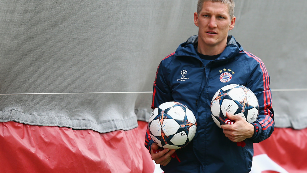 MUNICH, GERMANY - APRIL 28: Bastian Schweinsteiger arrives for the FC Bayern Muenchen training session at the club's training