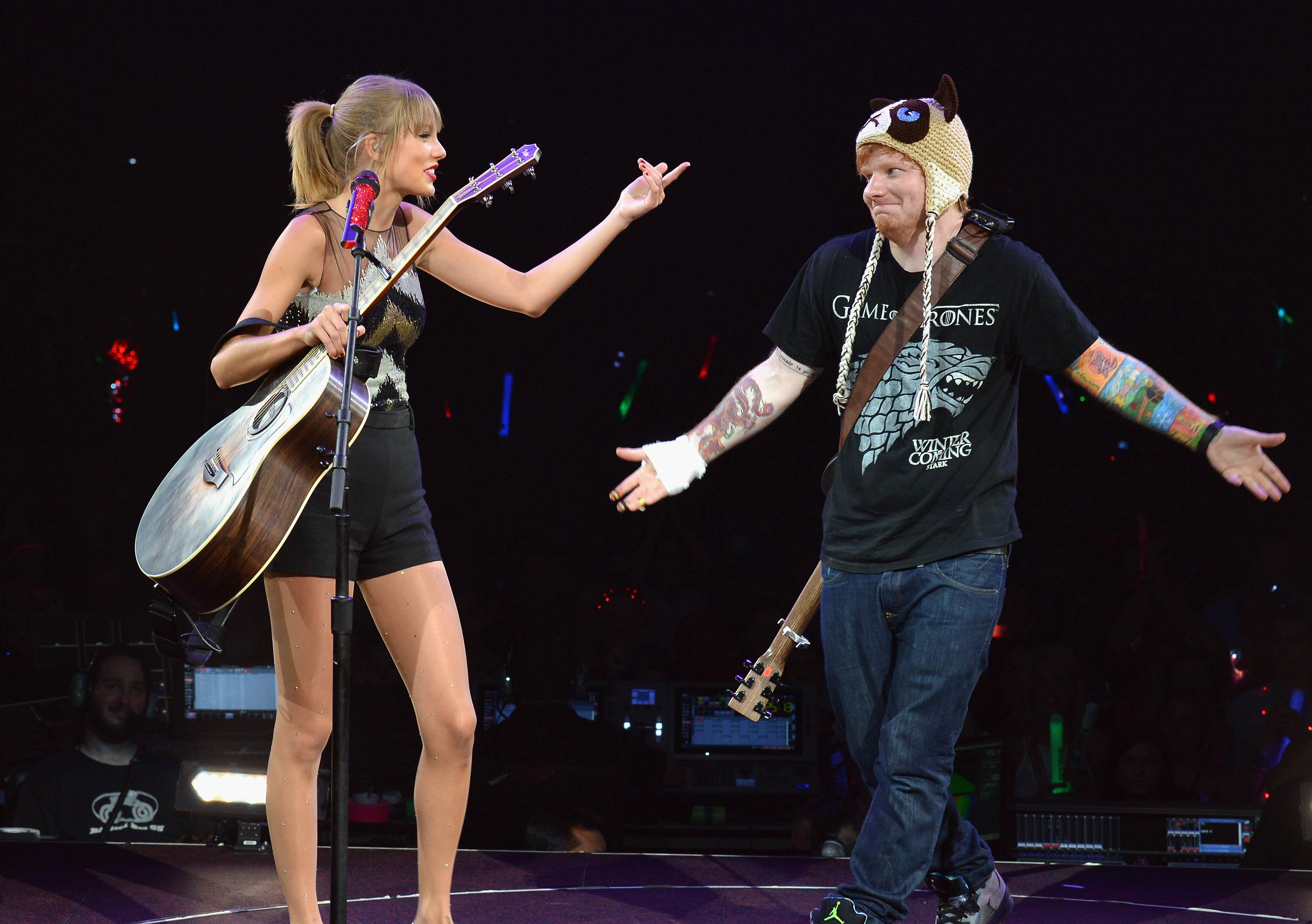 NASHVILLE, TN - SEPTEMBER 20:  Taylor Swift is joined onstage by Ed Sheeran as she wraps the North American portion of her RE