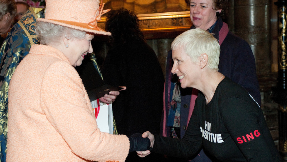 Britain's Queen Elizabeth II (L) meets Scottish singer Annie Lennox following the annual Commonwealth Day Observance Service