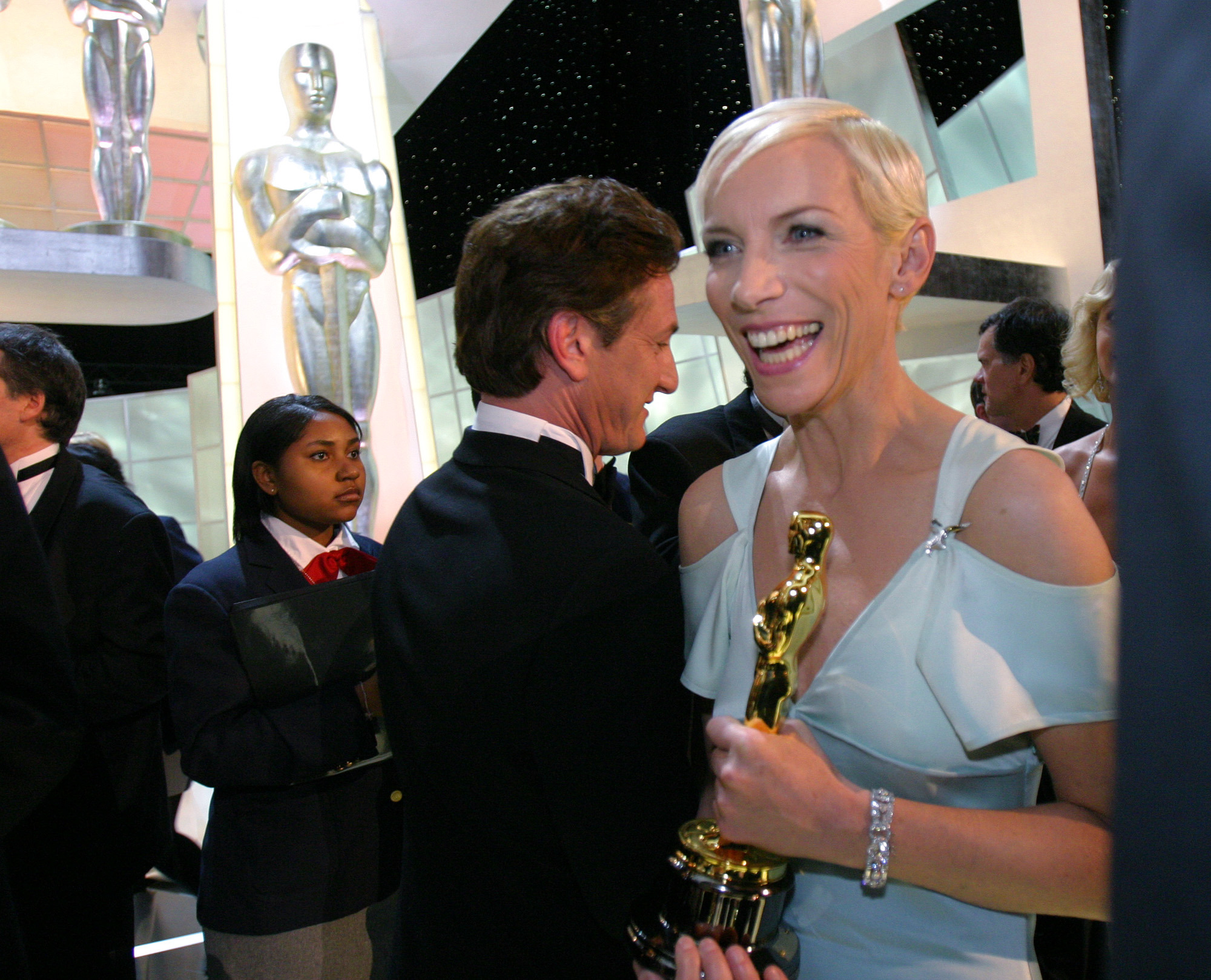 Annie Lennox leaves the stage with her Oscar for best original song for Into the West from the motion picture The Lord of the