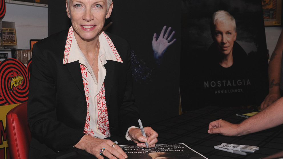 HOLLYWOOD, CA - OCTOBER 10:  Annie Lennox signs her new album 'Nostalgia' at Amoeba Music on October 10, 2014 in Hollywood, C