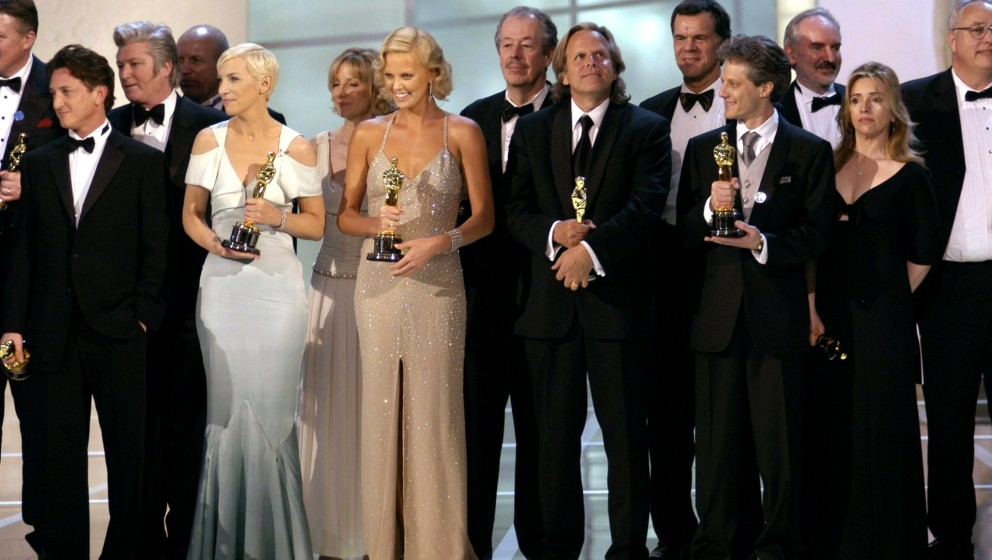 From left, Best Actor Academy Award winner Sean Penn, Best Original Song Academy Award winner Annie Lennox and Best Actress A