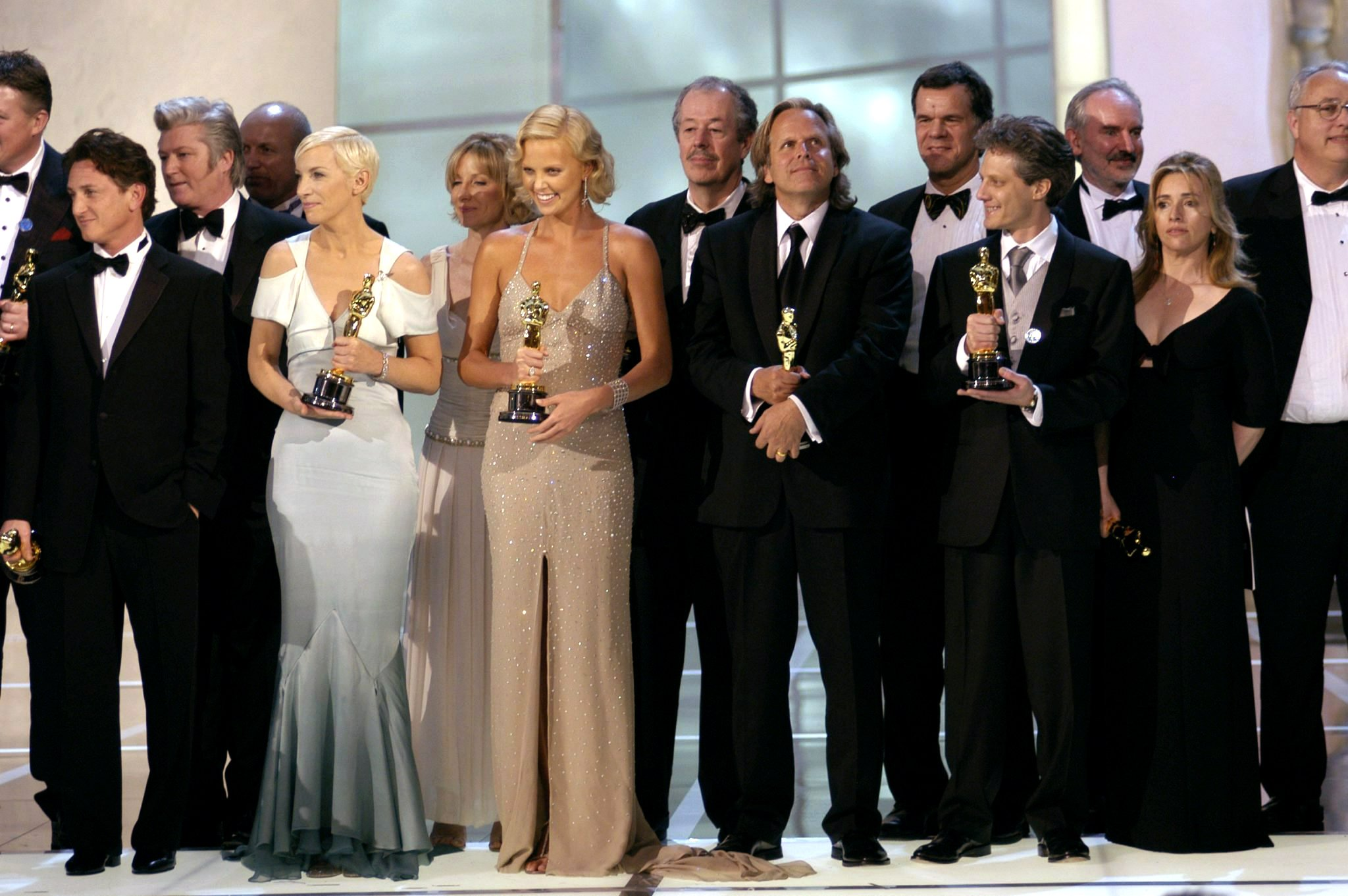 From left, Best Actor Academy Award winner Sean Penn, Best Original Song Academy Award winner Annie Lennox and Best Actress A