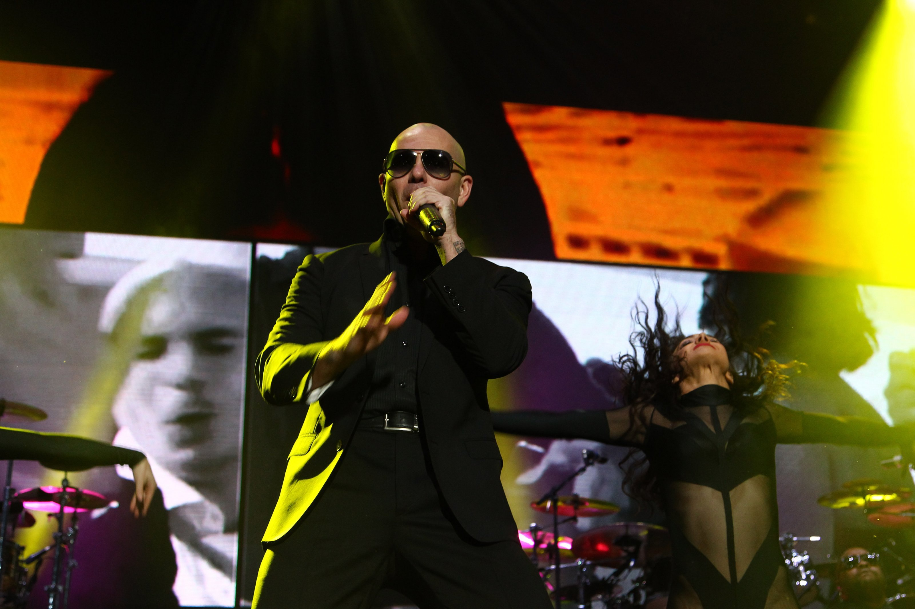 MEXICO CITY, MEXICO - DECEMBER 03:  Singer Pitbull performs during his show at Sports Palace on December 03, 2014 in Mexico C