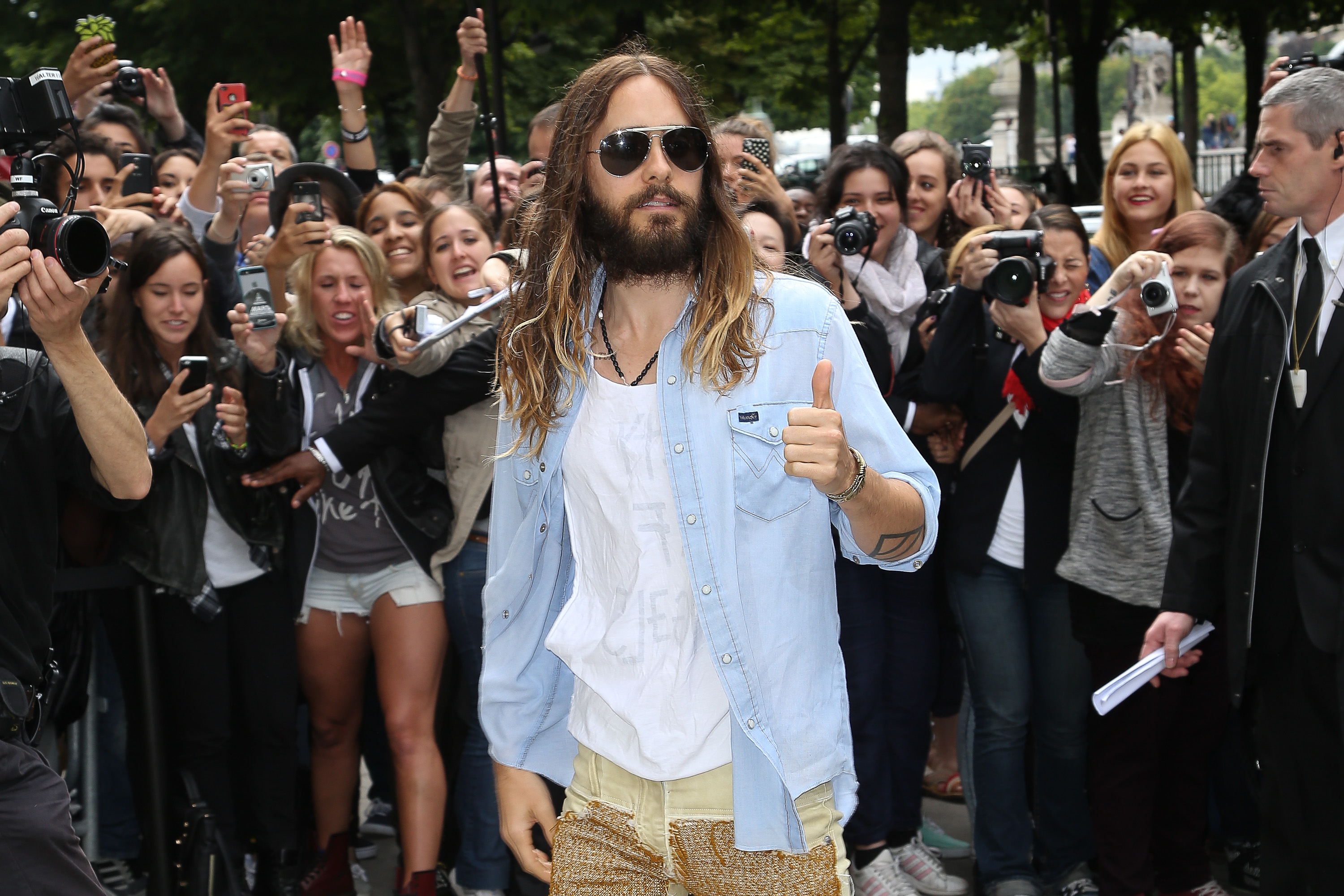 PARIS, FRANCE - JULY 08:  Actor and singer Jared Leto arrives to attend the Chanel show as part of Paris Fashion Week - Haute