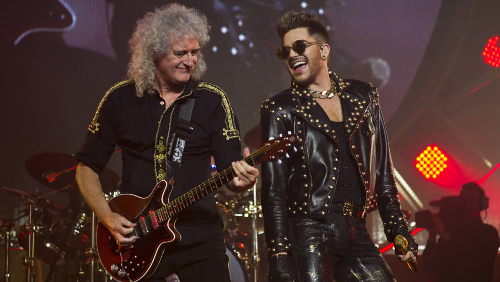 BRISBANE, AUSTRALIA - SEPTEMBER 01:  Adam Lambert performs live with Brian May of Queen at Brisbane Entertainment Centre on S