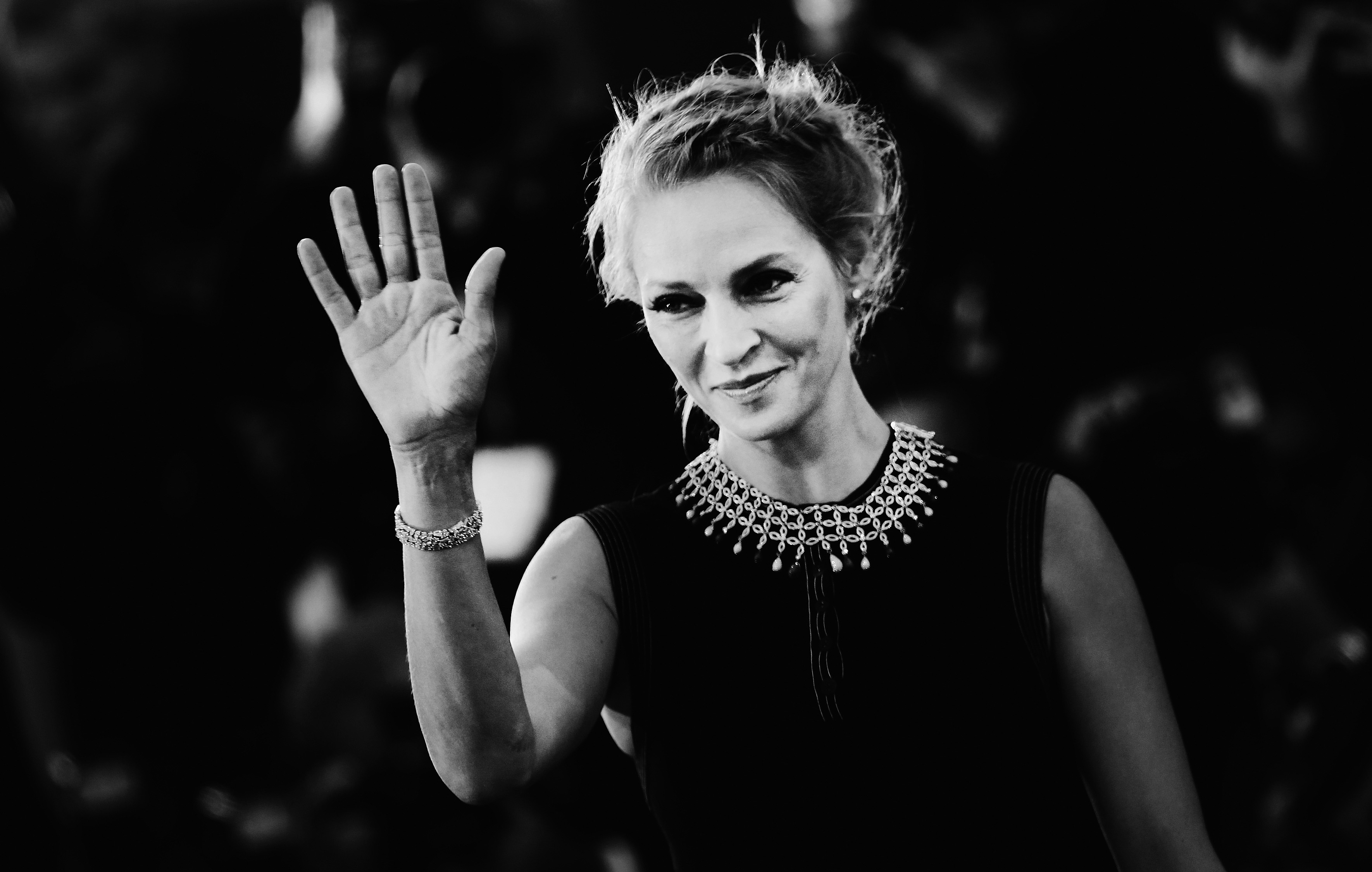 VENICE, ITALY - SEPTEMBER 01:  (EDITORS NOTE: Image has been converted to black and white.)  Uma Thurman attends the 'Nymphom