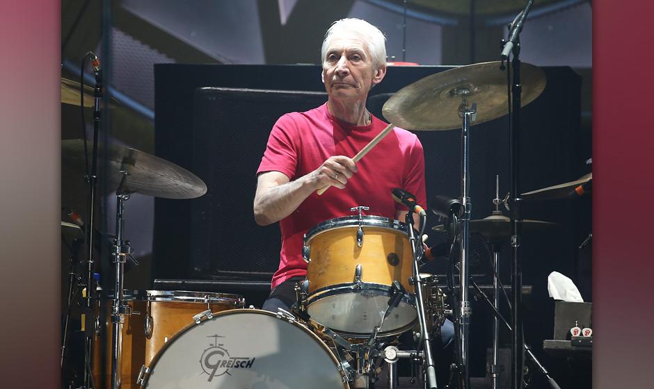 Der Schlagzeuger der Rolling Stones, Charlie Watts, fotografiert am 19.06.2014 in D¸sseldorf (Nordrhein-Westfalen). Foto: Ol