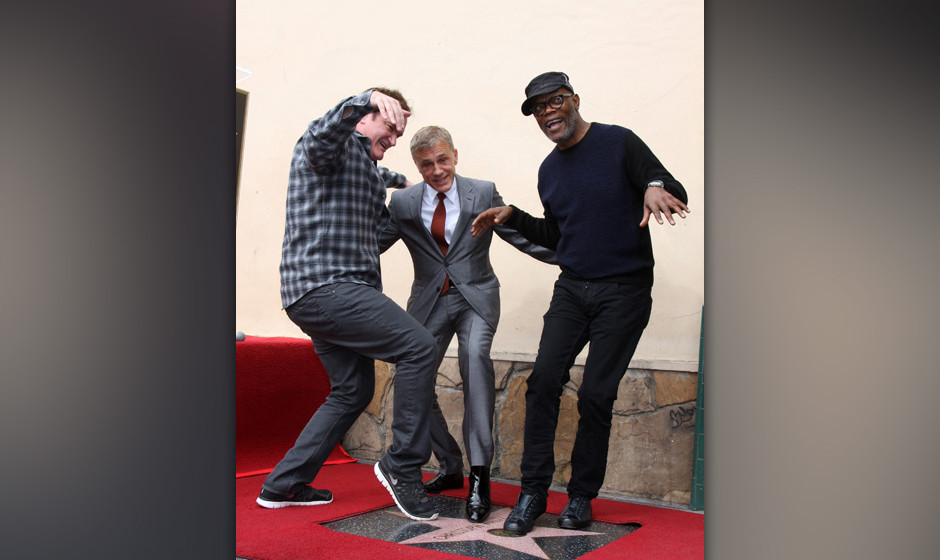 LOS ANGELES - DEC 1:  Quentin Tarantino, Christoph Waltz, Samuel L. Jackson at the Christoph Waltz Hollywood Walk of Fame Sta