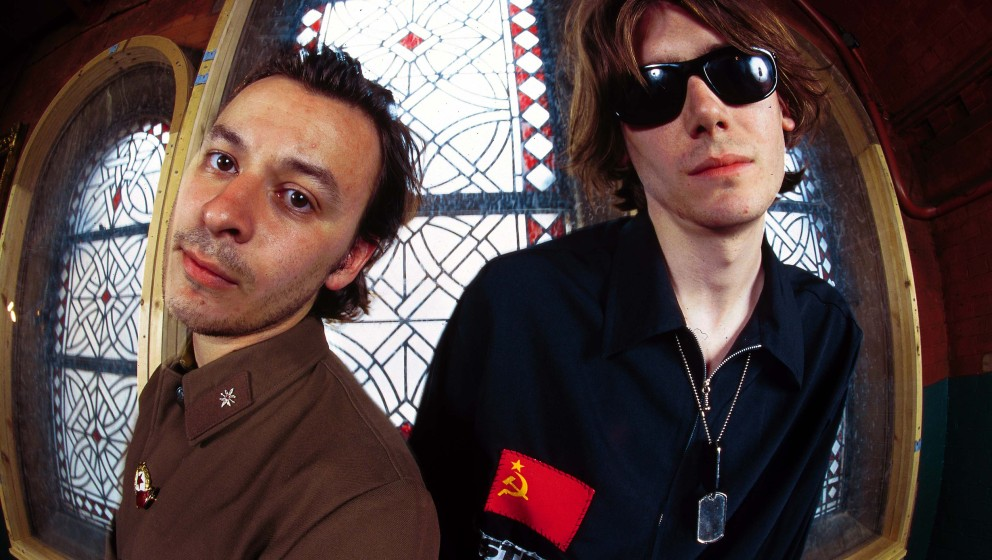 UNITED KINGDOM - JANUARY 01:  Photo of MANIC STREET PREACHERS; James Dean Bradfield and Nicky Wire - posed  (Photo by Mick Hu