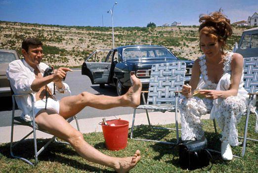 George Lazenby und Diana Rigg am Set