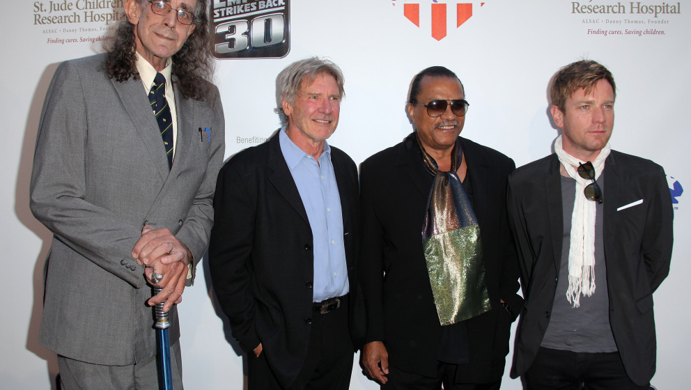 LOS ANGELES, CA - MAY 19:  Actors Peter Mayhew, Harrison Ford, Billy Dee Williams and Ewan McGregor arrive to St. Jude's 30th