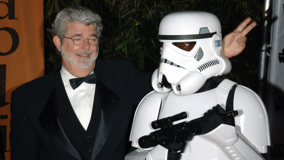 George Lucas and Stormtrooper during 2005 Cannes Film Festival - 'Star Wars: Episode III - Revenge of the Sith' Premiere - Af